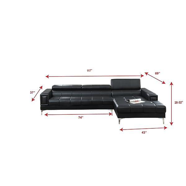 Poundex F7363 Bobkona Hayden Bonded Leather Sectional with Adjustable Back, Black