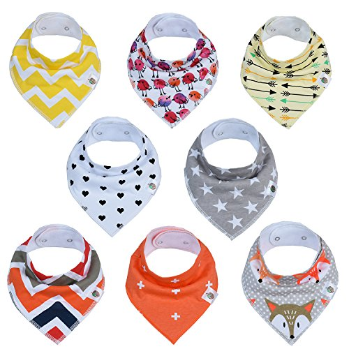- Lucky Nut Baby Bandana Drool Bibs | Baby Bibs For Drooling & Teething For Newborns - 24 months | 100% Organic Cotton Bandana Bibs Prevent Rashes By Sitting High On Baby's Neck | Unisex 8-Pack Bib Set