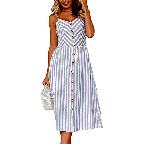 iLUGU Urbanization Midi Dress For Women Sleeveless Off Shoulder Backless Button Shoulder-Strap Stripe Gown