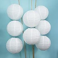 Linternas de papel Luna Bazaar (8 pulgadas, estilo paralelo acanalado, blanco, juego de 8) - Decoraciones colgantes chinas /japonesas de papel de arroz - Para decoración del hogar, fiestas y bodas