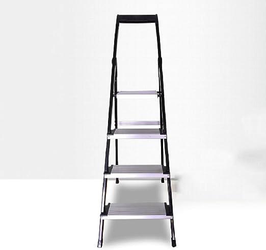DQMSB Escalera para el hogar Escalera pequeña de Cuatro Pasos para Interiores Escalera de Aluminio Plegable para Interiores Escalera de Trabajo para Exteriores Taburete: Amazon.es: Hogar
