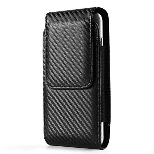 Black Vertical Belt Hip Case Pouch Bag Holster w/Swivel Clip for Apple iPhone 8 7 Plus/LG G6 V30 / Motorola Moto G6 G5s E5 Plus / X4 / G6 E5 Play/BlackBerry Motion/KEYone Case Carbon Fiber Belt Clip