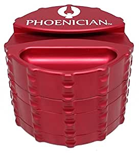 Phoenician Herbal Grinder - Large 4 Piece w/ Papers Holder - Red with 2 Rolling Paper Depot Doobtubes