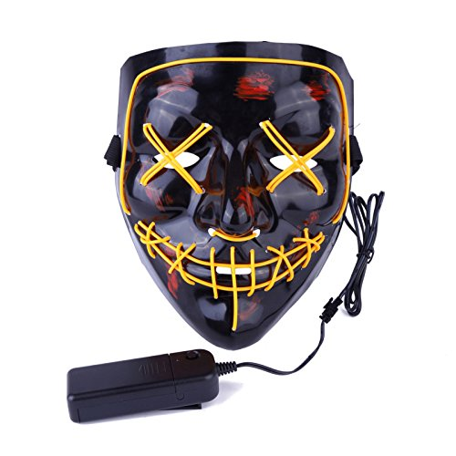 FunFinder Parties Christmas Halloween Festival Cosplay LED Mask Halloween Costume Plastic Mask for Teens Adults Yellow (2 pics) -