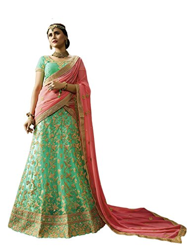 CRAZYBACHAT Indian Designer Bridal Sea Green Color Net Semi Stitched Lehenga Choli - Sea Green Color Net