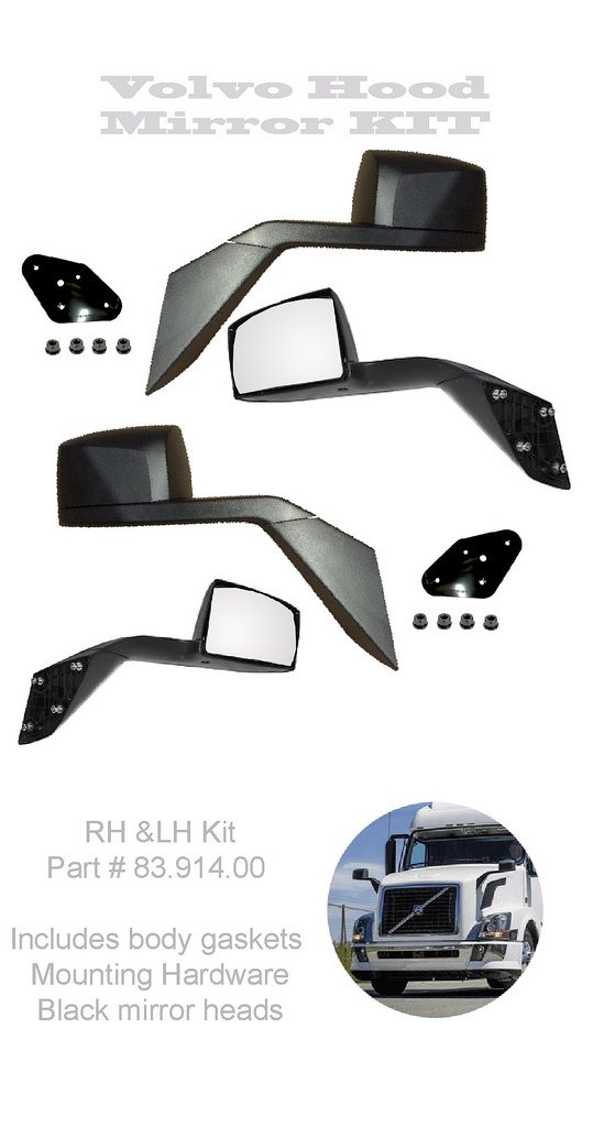Volvo VNL, VNM, VNX, Black Hood Mirrors LH&RH Set Aftermarket