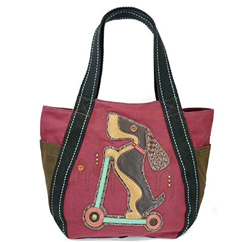 Chala Carryall Zip Tote, Canvas Handbag, Top Zipper, Animal Prints (Scooter Dog-burgundy), large