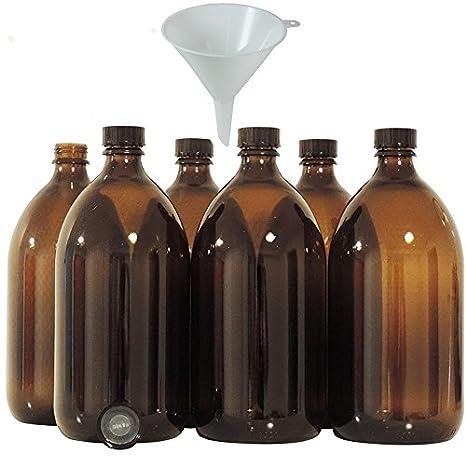 1 x Enghalsflasche 500 ml aus Braunglas mit Verschluss inkl. Beschriftungsetikett Viva Haushaltswaren als Apothekerflasche Made in Germany /& BPA frei Laborflasche /& Medizinflasche verwendbar