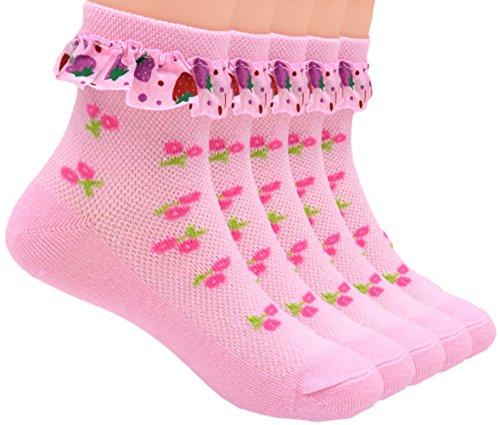 Sept.Filles Socks Girl's Anklet Socks Lace Top Dress Socks Packs of 5 (L(7-11y), Pink Strawberry)