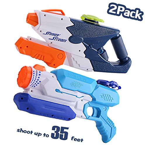 JUOIFIP 2 Pack Super Water Gun Water Blaster High Capacity Water Soaker Blaster Squirt Long Range Toy for Swimming Pool Beach Sand Water Fighting -