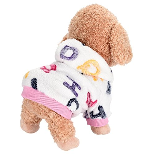 Minisoya Warm Comfortable Pet Clothes Hoodie Dog Flannel T-shirt Hooded Jacket Coat (Pink, L)