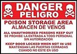 Zing Bilingual Agriculture Sign, Danger Poison Storage Area, 10''H x 14''W, Aluminum 14'' x 10'' (10 Pack)