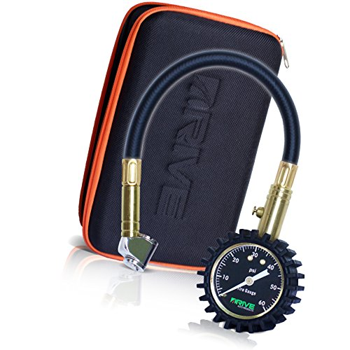 Drive Auto Products Tire Pressure Gauge (60 PSI) Accurate Reading Car Truck or Bike Tires, Rugged Housing & Travel Case is Heavy Duty, Air Monitoring Tool with Braided Hose and Dual Chuck