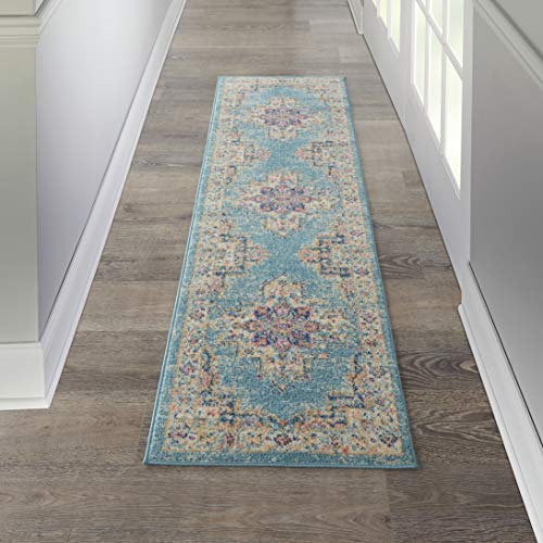 - Nourison PSN03 Passion Bohemian Chic Light Blue Area Rug Runner (2' x 8'), 2'2