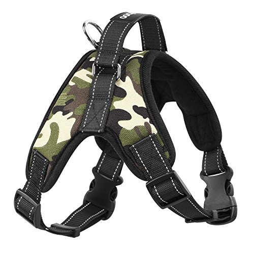 PAWABOO Dog Vest Pet Harness, Adjustable Duarable Heavy Duty Fabric Soft Padded Reflective Dog Vest Harness with Handle on Top for Pet Dog Training Walking, Medium Size, Deep Camouflage Black Camo Reflective Vest Harness