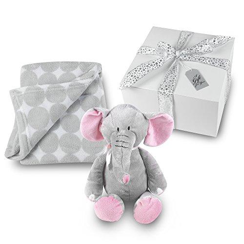 Elephant baby gifts amazon baby girl blanket and stuffed elephant gift set grey circle coral fleece blanket with plush stuffed pink and gray elephant gift wrapped negle Image collections