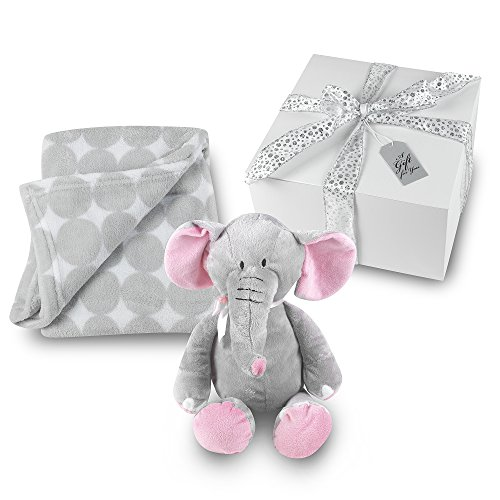 Baby Girl Blanket and Stuffed Elephant Gift Set - Grey Circl