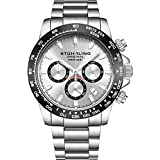 "Stuhrling Original Mens Sport Chronograph Watch - Stainless Steel Brushed Matte Bracelet, 891 Formula""i"" Watches Collection (Silver)"