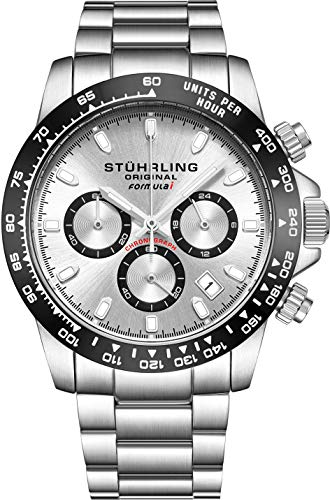 Stuhrling Original Mens Sport Chronograph Watch - Stainless Steel Brushed Matte Bracelet, 891 Formula'i' Watches Collection (Silver)