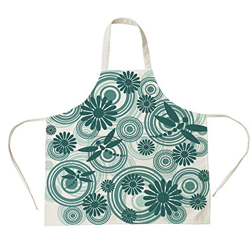 (3D Printed Cotton Linen Big Pocket Apron,Dragonfly,Abstract Circular Spiral Flowers Chamomile Daisy Figures Modern Print Decorative,Petrol Blue White,for Cooking Baking)