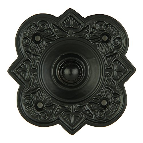 A29 Wired Iron Doorbell Chime Push Button in Black Powder Coat Finish Vintage Decorative Door Bell with Easy Installation ()