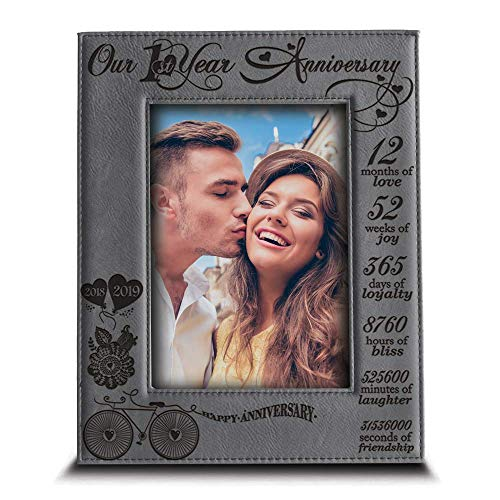 """BELLA BUSTA -Our 1st Year Anniversary-2018->2019-Months, Week, Days, Hours, Minutes -Engraved Leather Picture Frame for Couple-Our 1st 5""""x 7"""" Vertical (Grey)"""