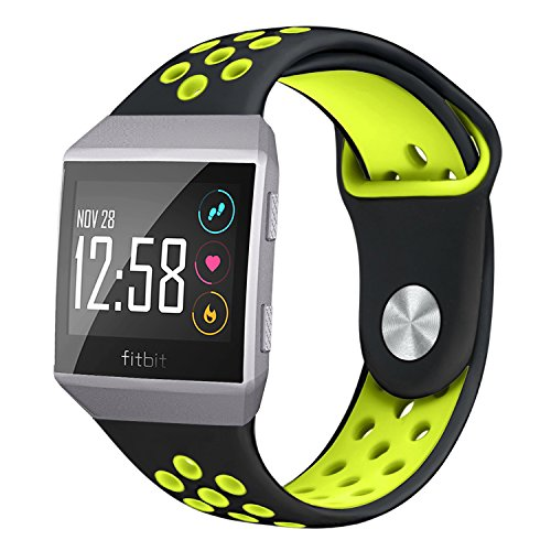 NO1seller Top Fitbit Ionic Bands Small Large for Women Men, Soft Silicone Sport Band Replacement Accessories with Ventilation Holes for Fitbit Ionic and Adidas ()