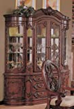 China Cabinet Buffet Hutch with Carved Detail Cherry Brown Finish