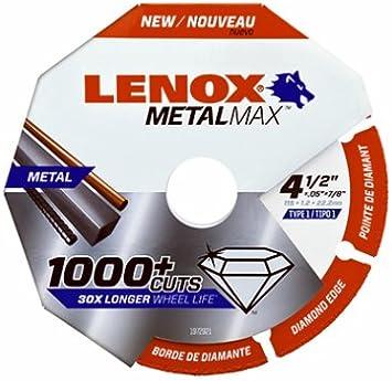 Lenox 1972921 MetalMax Diamond Cutoff Wheel 4.5 x 7//8