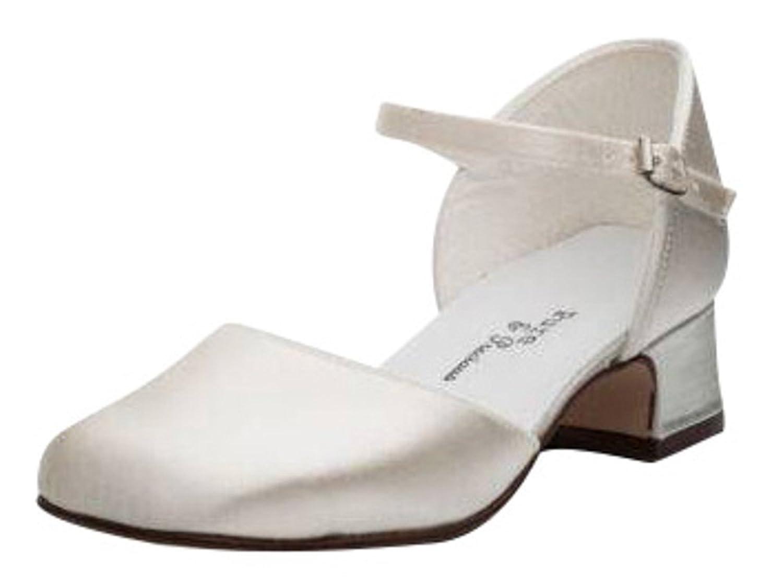 White Satin Bridesmaids Bridal Flower Girls Communion Childrens Shoes 7 ,8,9,10