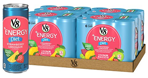 (V8 +Energy, Juice Drink with Green Tea, Diet Strawberry Lemonade, 8 oz. Can (4 Packs of 6, Total of 24) )