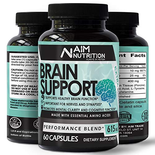 Advanced Brain Support Booster Supplement - Nootropic Pills for Neuro Performance, Mood and Anti-Anxiety - Extra Boosted Brain Memory & Focus (60 Capsules)