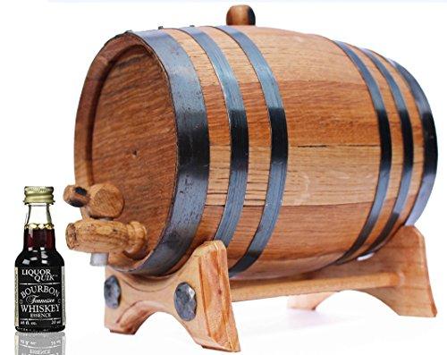 2 Liter Whiskey Barrel Kit for Aging - Alcohol Essence Tennessee Bourbon - Golden Oak Barrel Black Steel by Golden Oak Barrel