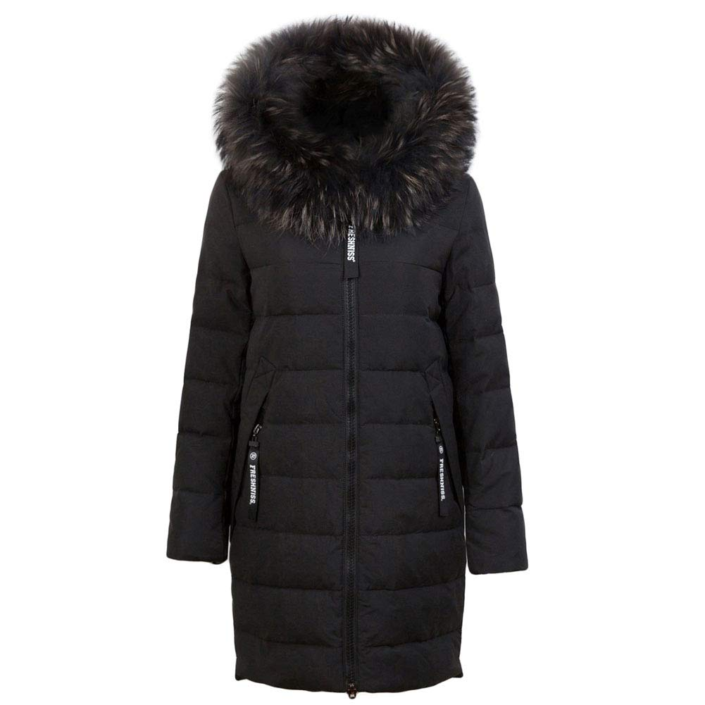 Black Michealboy Women Down Coat with colorful Fur Hood with 90% Down Parka Jacket