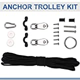 Dilwe Anchor Trolley Kit, Stable Anchor Trolley Kit System with Pulley Pad Eye Ring Hook Accessory Set for Kayak Canoe Boat