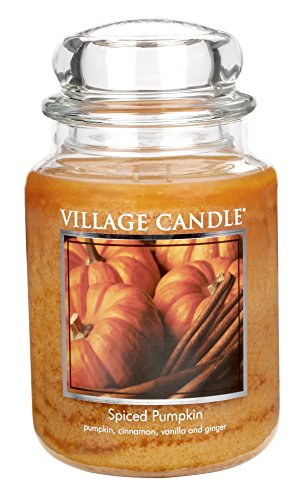 - Village Candle Spiced Pumpkin 26 oz Glass Jar Scented Candle, Large
