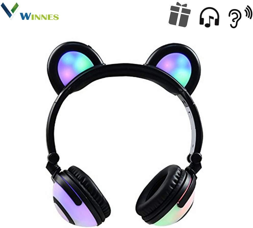 Cat Ear Bluetooth Headphones,Winnes Bear Ear Couple Headset DJ Style Foldable Gaming Earphone with LED Flash Light for Mobile Phone Tablet Compatible Android and iOS,Perfect for Kids Girls