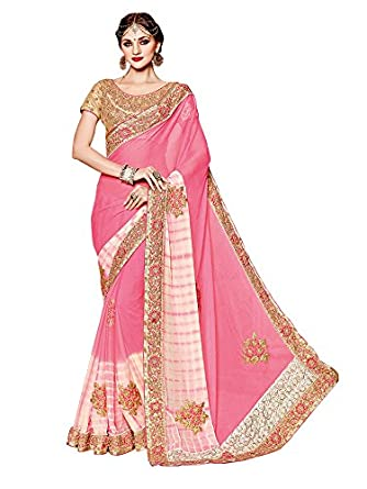 0b592143008a Embroidered Designer Pink color Bollywood Style Sari Georgette Party Wear  Traditional Saree Sarees available at Amazon