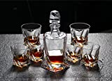 Diy Family StoreCrystal Whisky Decanter Glasses Set,Decanter 1 Piece Of Glasses 6 Pieces, High-End Crystal Glass, Gift Box Packaging