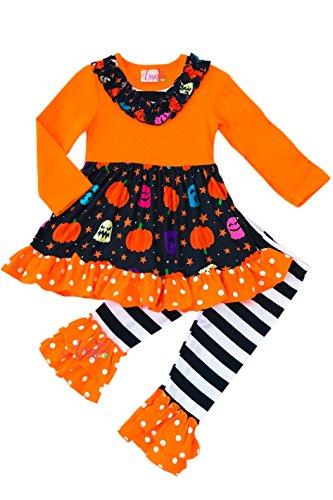 Angeline Toddler Little Girls Halloween Starry Night Ruffle Legging Set 12-18/XXS