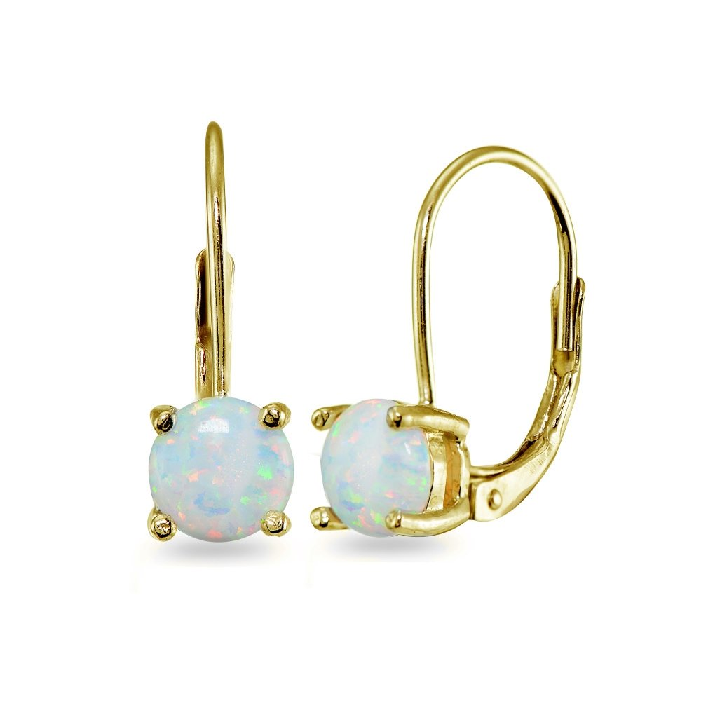 LOVVE Yellow Gold Flashed Sterling Silver Simulated Opal Round-cut Prong-set 6mm Leverback Earrings