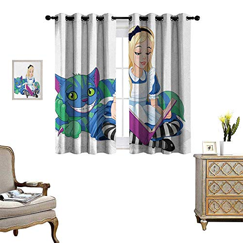 Anyangeight Alice in Wonderland Patterned Drape for Glass Door Alice Reading Book Cat Colorful World Happiness Love Character Image Waterproof Window Curtain W55 x L72 Multicolor]()