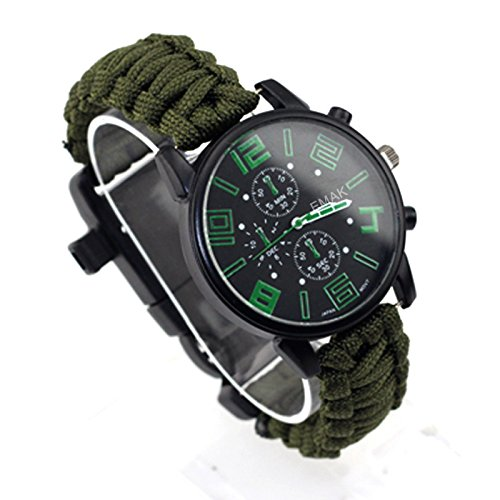Wooboo Paracord Outdoor Watch with Survival Compass Whistle Fire Starter Watchband Bracelet
