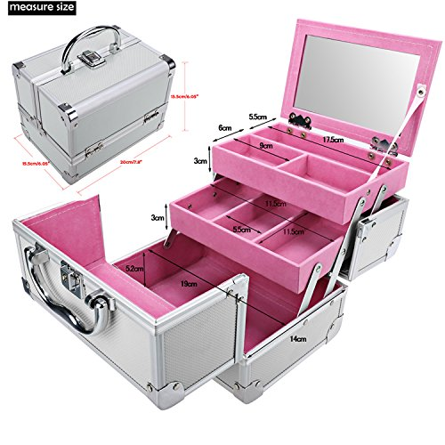 Extendable Portable Makeup Train Case Organizer with Mirror Jewelry Box Lockable Cosmetic Travel Case Organizer Storage Box with 2 Keys for Women, 7.8 x 6.05 x 6.05inch (Silver Pink) by Elopea (Image #3)