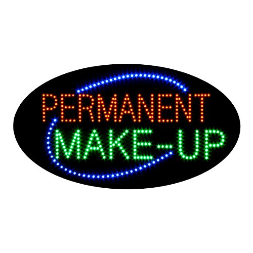 LED Permanent Make up Cosmetics Open Light Sign Super Bright Advertising Display Board for Beauty Eyebrow Lash Microblading Spa Business Shop Store Window Bedroom Decor 27 x 15 inches
