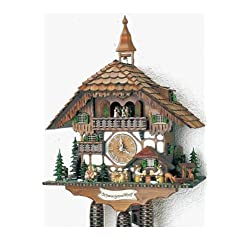 23.5 Black Forest Chalet with Moving Beer Drinkers, Waterwheel, Kissing Couple and Ringing Bell