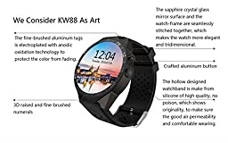 GearBest KW88 3G Smartwatch Phone with GPS WiFi Pedometer Heart Rate Monitor 5.0MP RC Camera for Android 5.1 (Black)