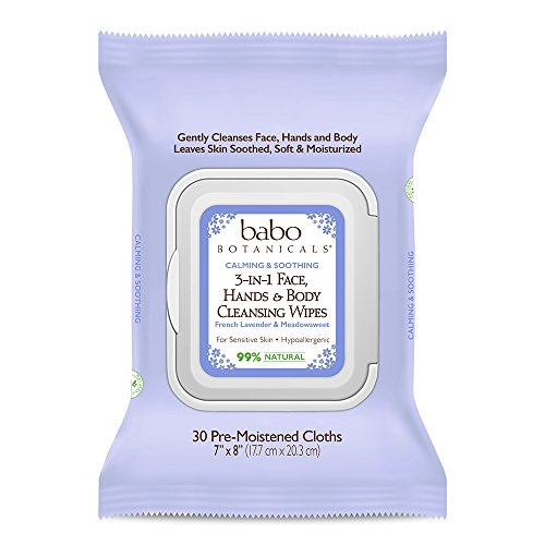 Babo Botanicals 3-in-1 Calming Wipes, French Lavender & Meadowsweet, 30 Count - Natural Biodegradable Wipes