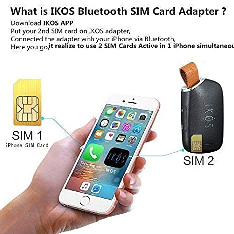 Ikos Bluetooth Dual Sim Adapter Compatible With Apple Iphone X 8 7 6s 6 Plus Ipad Ipod Ios System High Staby Realize 2 Sim Cards Active In 1 Iphone