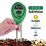 Bull spring Medidor de pH del suelo, 3 en 1 medidor de humedad del probador de suelo, probador de acidez de luz y pH, para jardín, granja, césped, interior y exterior